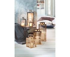 greemotion Metall-Laterne kupferfarben, ideal für den Innen- und Außenbereich, Gartenlampe aus robustem Edelstahl, Deko-Laterne mit Griff zum Tragen oder Aufhängen, Maße: ca. 16 x 16 x 30 cm