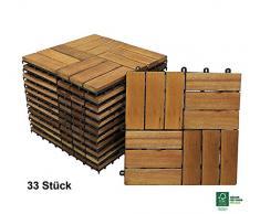 SAM® Terrassen-Fliese Variante 2 aus Akazien-Holz, 33er Spar-Set für ca. 3m², Garten-Fliese mit 12 Latten, Balkon Bodenbelag mit Drainage Unterkonstruktion, FSC® 100% Zertifiziert, klick-Fliesen