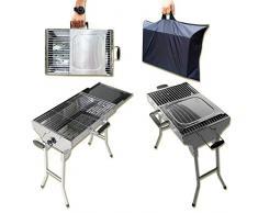 Edelstahl Koffergrill Aladdin Portabler Mangal BBQ Grill mit Transport-Tasche