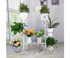 Blumenständer Blumentreppe, Eisen Multi-Layer Wohnzimmer Montage Blumenständer Balkon Europäischen Blumen Stehen Innen- Und Außen-Display-Stand (Farbe : Weiß)