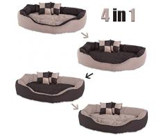 dibea 4-in-1 Hundebett, Hundekissen, Hundekörbchen mit Wendekissen, braun/beige, Größe M