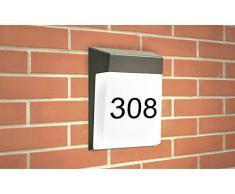 GEV LED-Hausnummernleuchte Regina, inkl. Hausnummernbogen, IP 65, 1000 Lumen, 3000 K, Beleuchtung warmweiß, Aluminium, 10 W, Anthrazit, 5,8 x 16 x 21 cm