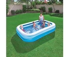 Bestway Family Pool, Pool rechteckig für Kinder, leicht aufbaubar, blau, 262x175x51 cm