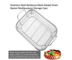 SDGDFXCHN Grillkorb, tragbarer Edelstahl-Grillkorb, Gitterkorb, Grillzubehör zum Grillen und Braten von Gemüse, Fisch oder Fleisch