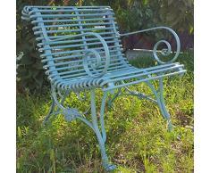 Casa Padrino Schmiedeeisen Gartenstuhl mit Armlehnen Hellblau 65 x 60 cm - Handgefertigte Gartenmöbel im Jugendstil