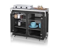 Campart 0734 Outdoor Küche Madrid – Sechs Staufächer – Aufbewahrungstasche inklusive, grau
