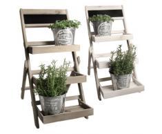 Blumenleiter Pflanzentreppe Blumenregal Holz Shabby Chic Landhaus Weiß