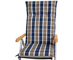 Beo Kissen Polster für Hochlehner in karo grau blau für Gartenmöbel