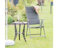 Relaxdays Gartenstuhl Hochlehner, klappbar, Rückenlehne verstellbar, gepolstert, anthrazit, 81x55x108 cm, 10020898_13