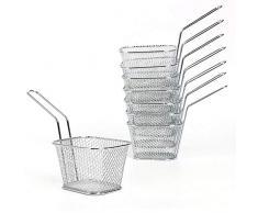FreeTec 8 Stück Mini Bratenkorb Edelstahl Frittierkörbchen zum Servieren für Pommes Frites Garnelen Zwiebelringen