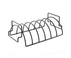 Ariymap Grillkorb Premium für Hähnchen oder Spare Ribs, Braten- und Rippchenhalter, Bratenkorb Für Party (13.8 x 7.7 x 4.5 inch, Schwarz)