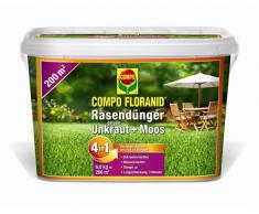 COMPO FLORANID Rasendünger gegen Unkraut+ Moos Komplett-Pflege, 3 Monate Langzeitwirkung, Feingranulat, 6 kg, 200m²