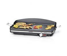 ROMMELSBACHER BBQ 2002 Tischgrill Gourmet (Elektrogrill mit zuschaltbarer Turbo-Grillzone, 3-Lagen Antihaftbeschichtung, 1900 W) schwarz
