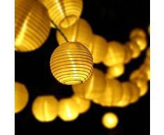 SUAVER Solar Lichterkette Bunt Lampion Außen Outdoor Laternen 30er Kugeln für Weihnachten Party Lichterpfindlich Uping (Warmweiß)