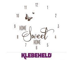 KLEBEHELD® Wandtattoo Uhr Home Sweet Home mit Schmetterling für Wohnzimmer, Küche, Flur oder Wohnbereiche Farbe braun, Größe 45x47cm | Uhrwerk schwarz, Umlauf 44cm
