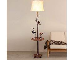 GJIF - Stehlampe Stehlampe mit Couchtisch Schmiedeeisen Retro Stehlampe Innenbeleuchtung Antik - Fußschalter (E27) (Farbe : Coffee table)