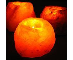 MGS SHOP Salzkristall - Leuchte für Teelichter Salzkristalleuchte Natur belassen bis 1kg (3 er Set)