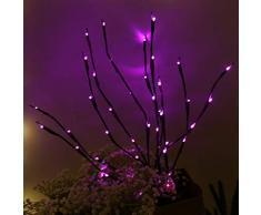 FBGood LED-Lichtzweig, 20 LEDs, Blumenstrauß – Wohnzimmer Büro Dekoration – LED Zweig Laterne violett