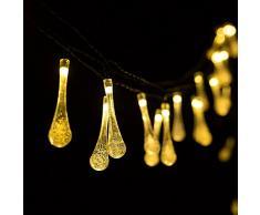 H&D Youngsun 30er LED Solar 6,35 Meter Außen Innen Outdoor Garten Party Fest Deko Weihnachten Hochzeit Beleuchtung (warmes Weiß (Wassertropfen)