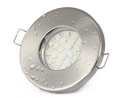 6er Set Einbaustrahler IP65 Optik: Edelstahl gebürstet Bad | Dusche | Sauna | inkl. GU10 5Watt LED Leuchtmittel 3000Kelvin (warm-weiß) 430Lumen (Leuchtmittel austauschbar) | Einbauleuchten Edelstahl lackiert rostfrei
