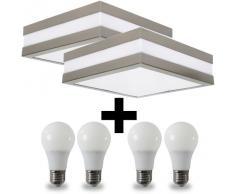 2er Set Wandleuchte Deckenleuchte SAVONA eckig / quadratisch IP44 LED E27; Set inkl. je 2x 10W LED; für Wohnraum, Bad, Flur, Wand, Decke; für bis zu 2x18 Watt