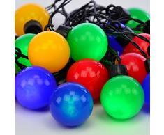 Nipach GmbH LED Partylichterkette Partybeleuchtung Lichterkette für Weihnachten Hochzeit Kindergeburtstag – 20 Leuchtkugeln mit Trafo – innen & außen – bunt