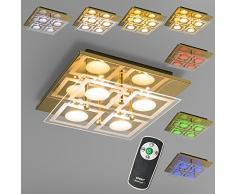 QAZQA Modern Deckenleuchte Ilumlux 4 messing, Glas, Metall, Quadratisch / inklusive LED Module Max. 4 x 3 Watt Aplusplus
