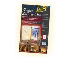 folia 11907 - Lichtertüten aus schwer entflammbarem Papier, Funkelsterne, 5 Stück, ca. 19 x 11,5 x 7 cm, zum selbstgestalten, stimmungsvolle Tischdekoration im Advent und zu Weihnachten