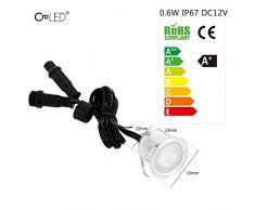 CroLED Einbaustrahler LED 10er Set 32mm Boden Weiß Licht IP67 Wasserdicht Einbauleuchten Außen Lampe [Energieklasse A+]