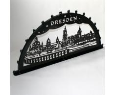 Schwibbogen Lichterbogen Metall - Motiv: Dresden Canalettoblick - XXXL 2 Meter Breite Außen-Bereich schwarz * riesen groß * Weihnachten Dresdner Frauenkirche