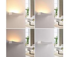 LINDBY Wandleuchte, Wandlampe Innen Tiara dimmbar (Modern) in Weiß aus Gips/Ton u.a. für Wohnzimmer & Esszimmer (2 flammig, G9, A+, inkl. Leuchtmittel) - Wandfluter, Wandstrahler, Wandbeleuchtung