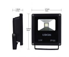 LEDGLE 10W LED Flutlicht, Tageslicht Weiß, Gleicht einer 100W Halogenlampe, LED-Wandfluter, 9LEDs, 2835SMD, 6000K, 780 Lumen, IP66 Wasserdicht, 2Pcs
