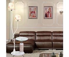 ZMLG Standleuchten Wohnzimmer, Skandinavisch Stehlampe mit Regalen Modische Kreative Standlampen Schlafzimmer mit Fußtaster Schlafzimmer Nachttischlampe für Kücheninsel Kinderzimmer Landhaus,Weiß
