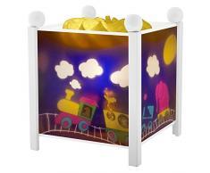 Trousselier - Zug - Nachtlicht - Magische Laterne - Ideales Geburtsgeschenk - Farbe Holz weiß - animierte Bilder - beruhigendes Licht - 12V 10W Glühbirne inklusive - EU Stecker