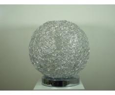 Moderne Halogen + LED Kugel Tischleuchte Alissa D30cm Alu Draht Aluminium Kugelleuchte Dekoleuchte
