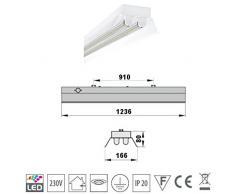 SUPER SET LED Deckenleuchten mit Reflektor mit 2X T8 LED 18W warmweiß 3000K 120cm G13 Büroleuchte, Bürobeleuchtung