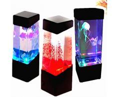 szdc88 Qualle Aquarium Stimmung Licht, Vulkan Lava Lampe Qualle Lampe Aquarium LED Entspannendes Schreibtisch Lampe Lava Lampe LED für Zimmer Stimmung Licht für Relax - Farbig Licht, 7cmx7cmx23.5cm