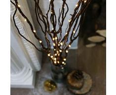 Festive Lights batteriebetriebene, beleuchtete Deko-Zweige, 5 Zweige - 90cm - mit eleganter Mikro-LED Zweigbeleuchtung auf filigranen Metalldraht, (Weidenbraun)