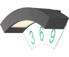 4,5 Watt LED Au?enlampe Wand Hausnummer Beleuchtung T?r Leuchte Aluminium Nummer Licht IP44 Globo 34281