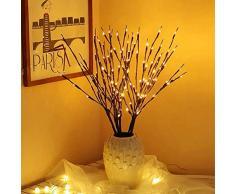 EAMBRITE 3er Set Lichterbaum Aussen Innen 60LEDs Wasserdichte Lichterzweige 76CM Warmweißes Zweiglicht Braun mit Netzstrom Betriebene LED Lampe Zweige Dekoration für Weihnachten Ostern Halloween