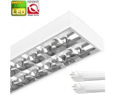 LED Rasterleuchten mit 2X T8 LED 18W warmweiß 3000K G13 Bürolampe