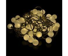 50er LED Lichterkette Partybeleuchtung Biergarten warm weiss außen Kabel transparent XMas