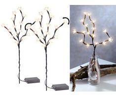 Lunartec LED-Zweig Weihnachten: 2er-Set LED-Lichterzweige mit 16 leuchtenden Blüten, batteriebetrieben (Lichterzweig Weihnachten)