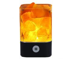Tomnew natürliche Himalaya-Salz-Lampe, USB, echtes rosa Himalaya Salzkristall, Steinlampe für Gesundheit, Lava Stein-Nachtlicht für Schlafzimmer und Büro, plastik, Schwarz , Quadrat