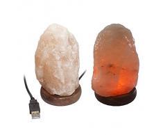 Cosmocolor Salzkristalllampe mit USB-Stecker, ca. 500 Gramm, ca. 12 x 7 cm