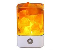 Tomnew natürliche Himalaya-Salz-Lampe, USB, echtes rosa Himalaya Salzkristall, Steinlampe für Gesundheit, Lava Stein-Nachtlicht für Schlafzimmer und Büro, plastik, weiß, Quadrat