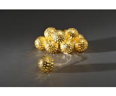 Konstsmide 3157-803 LED Dekolichterkette große goldfarbene Metallbälle / für Innen (IP20) / Batteriebetrieben: 3xAA 1.5V (exkl.) / 10 warm weiße Dioden / transparentes Kabel