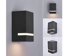 LED Aussenleuchten in Anthrazit Wand-leuchte Wandlampe Flurleuchte Fluter GU10 Fassung + 5 Watt warmweiß Edelstahl modern IP54 1329A