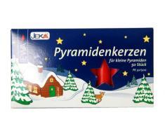 JEKA Pyramidenkerzen klein, rot ca. 14 x 74 mm 50 Stück/Pack, Weihnachtskerzen, Adventskerzen, Christbaumkerzen, Baumkerzen, Kerzen