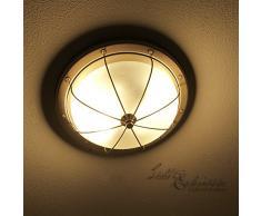 Große Deckenleuchte in messingoptik Jugendstil inkl. 2x 12W E27 LED 230V Deckenlampe aus Satiniertes Glas & Metall für Esszimmer Schlafzimmer Flur Lampe Leuchten innen Beleuchtung
